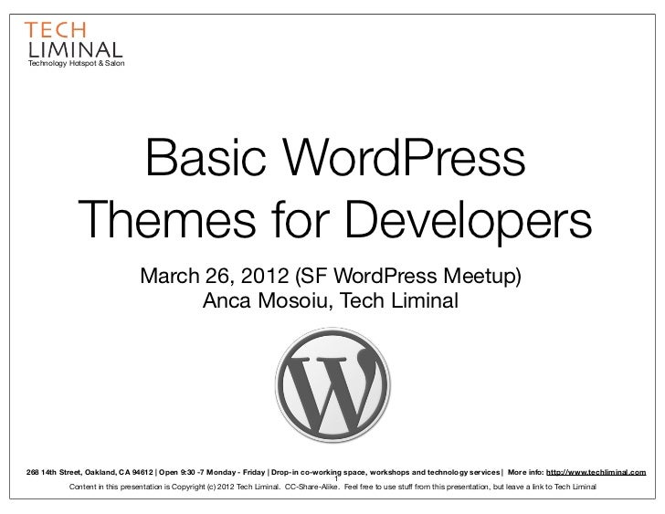 Technology Hotspot & Salon                Basic WordPress              Themes for Developers                              ...