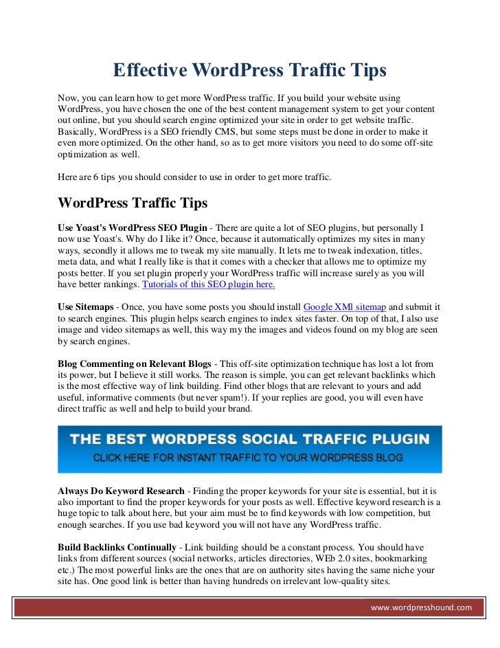 Wordpress Traffic Tips