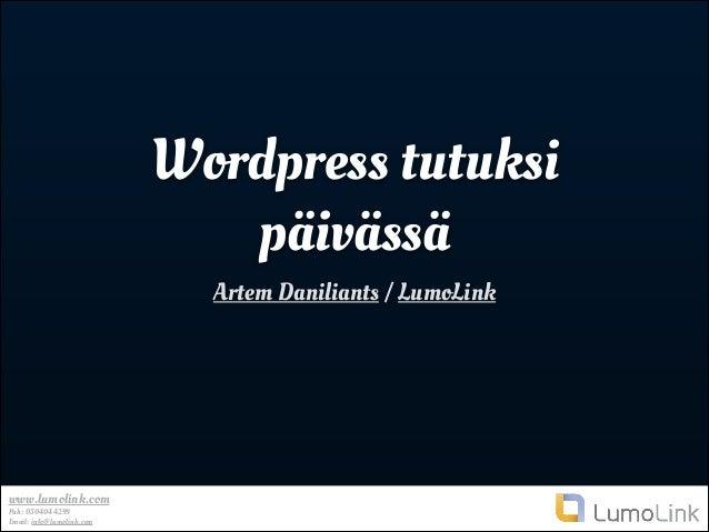 Wordpress tutuksi päivässä