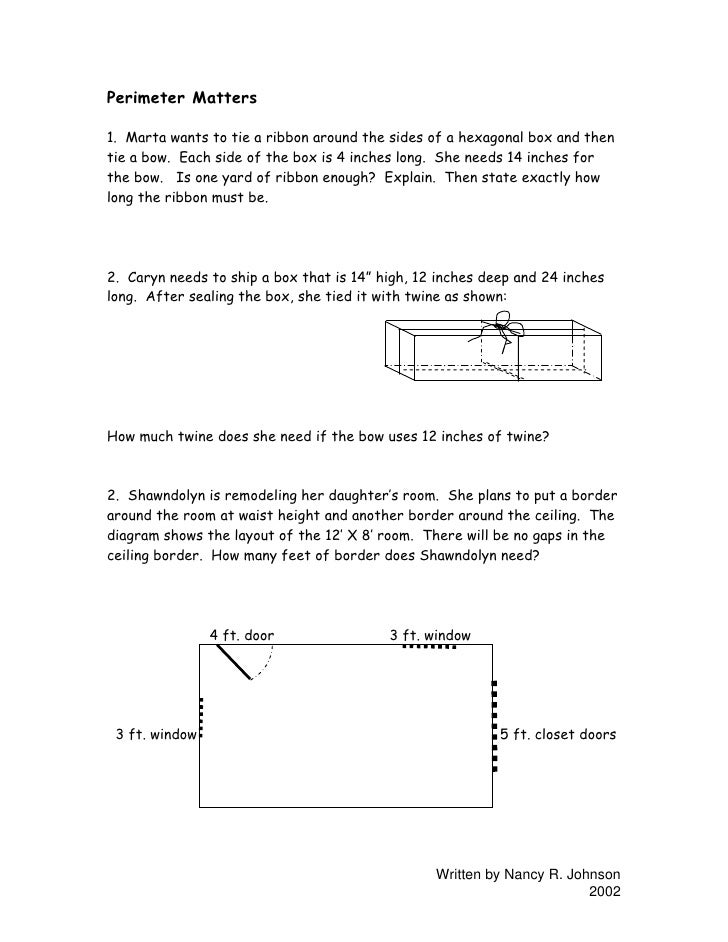 Perimeter Matters  1. Marta wants to tie a ribbon around the sides of a hexagonal box and then tie a bow. Each side of the...