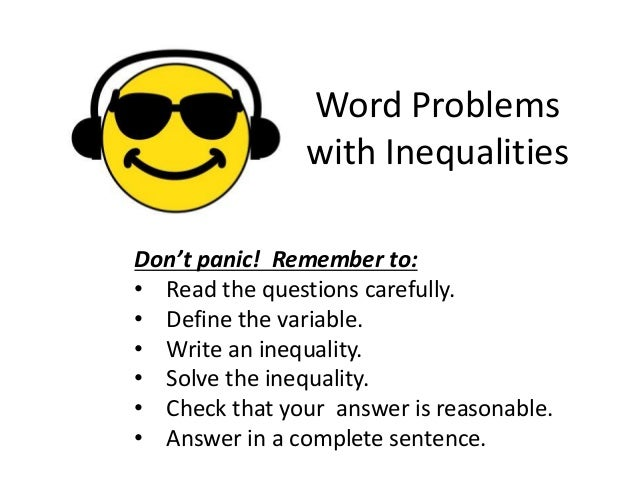 Solving Inequalities Word Problems Worksheet Worksheets