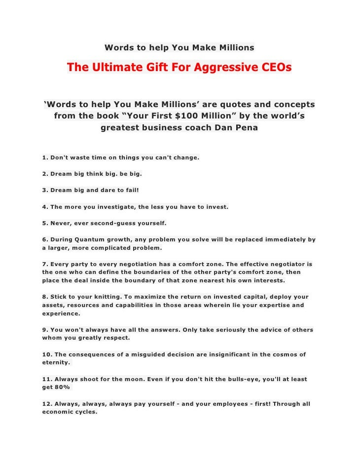 Words to help You Make Millions       The Ultimate Gift For Aggressive CEOs'Words to help You Make Millions' are quotes an...