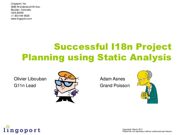 Wordware 2011: Lingoport i18n Planning & Static Analysis