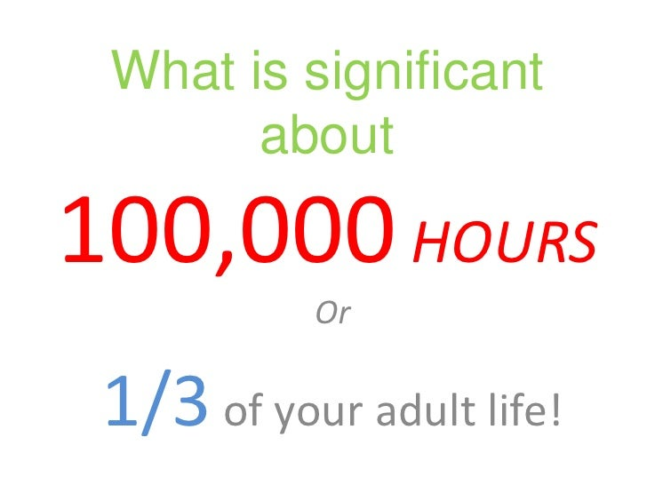 What is significant about 100,000HOURS<br />Or<br />1/3 of your adult life!<br />