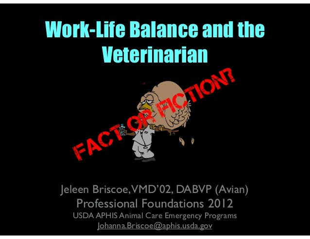 Work-Life Balance and the Veterinarian Jeleen Briscoe,VMD'02, DABVP (Avian) Professional Foundations 2012 USDA APHIS Anima...