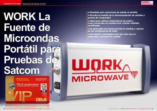 INFORME DE PRUEBA  Generador de Señales de Test  WORK La Fuente de Microondas Portátil para Pruebas de Satcom  96 TELE-aud...