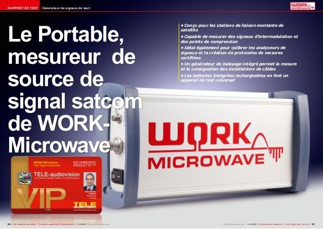 RAPPORT DE TEST  Générateur de signaux de test  Le Portable, mesureur de source de signal satcom de WORKMicrowave  96 TELE...