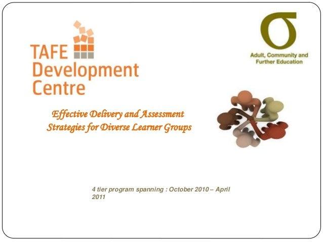 4 tier program spanning : October 2010 – April 2011 Effective Delivery and Assessment Strategies for Diverse Learner Groups
