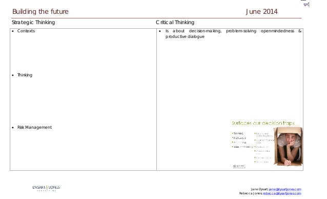 Jane Dysart; jane@dysartjones.com Rebecca Jones; rebecca@dysartjones.com Strategic Thinking Critical Thinking • Contexts •...