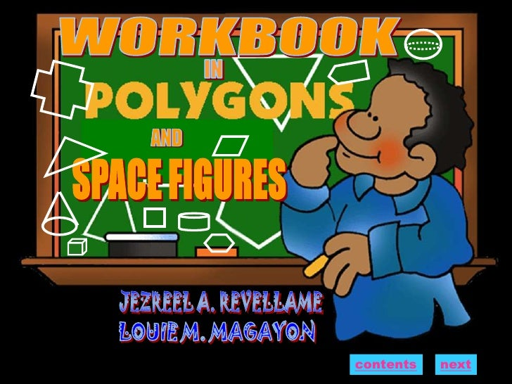 Workbook in polygons and space figures