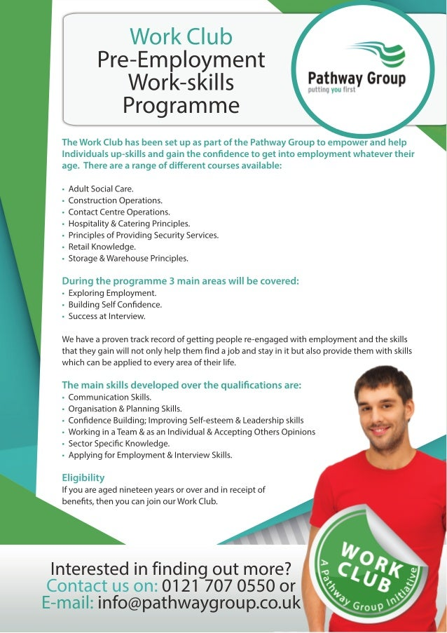 Work Club - Pathway Group (Leaflet for Service Providers)