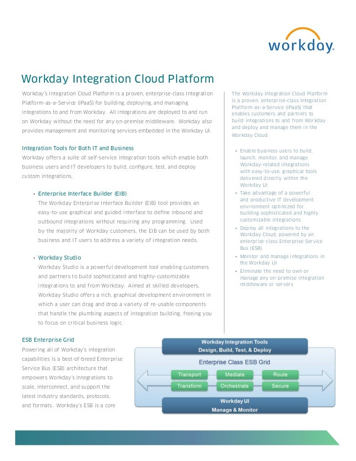 Workday Integration Cloud PlatformWorkday's Integration Cloud Platform is a proven, enterprise-class Integration   The Wor...