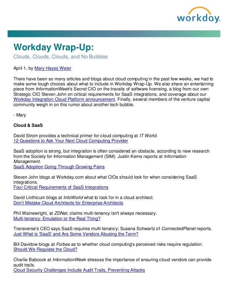 Workday Wrap-Up: Clouds, Clouds, Clouds, and No Bubbles Blog