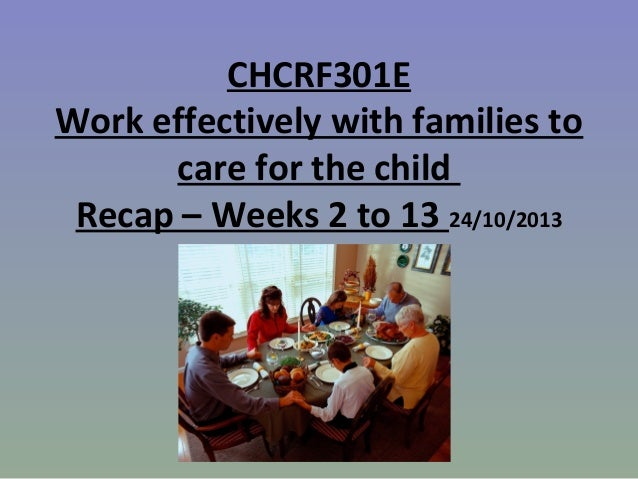 CHCRF301E Work effectively with families to care for the child Recap – Weeks 2 to 13 24/10/2013