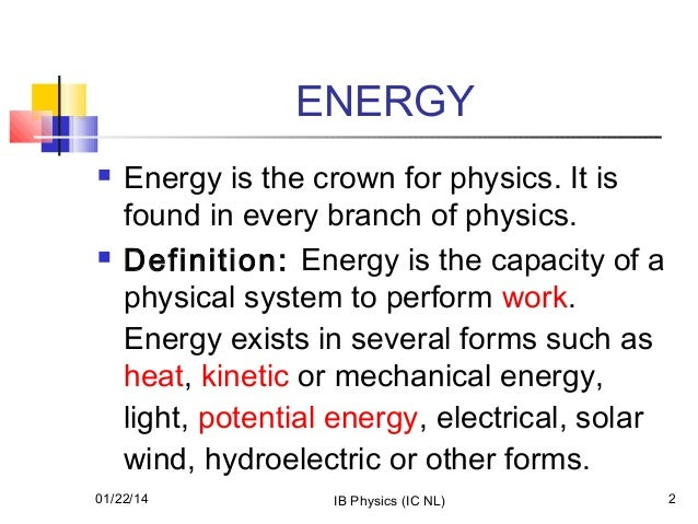 physics work power energy Physics definition: power is the rate of energy consumed in a unit of time (power = work/ time) in exercise, it's the rate of performing muscular work, with potential energy becoming work (aka moving weight) or heat (aka, you getting warm.