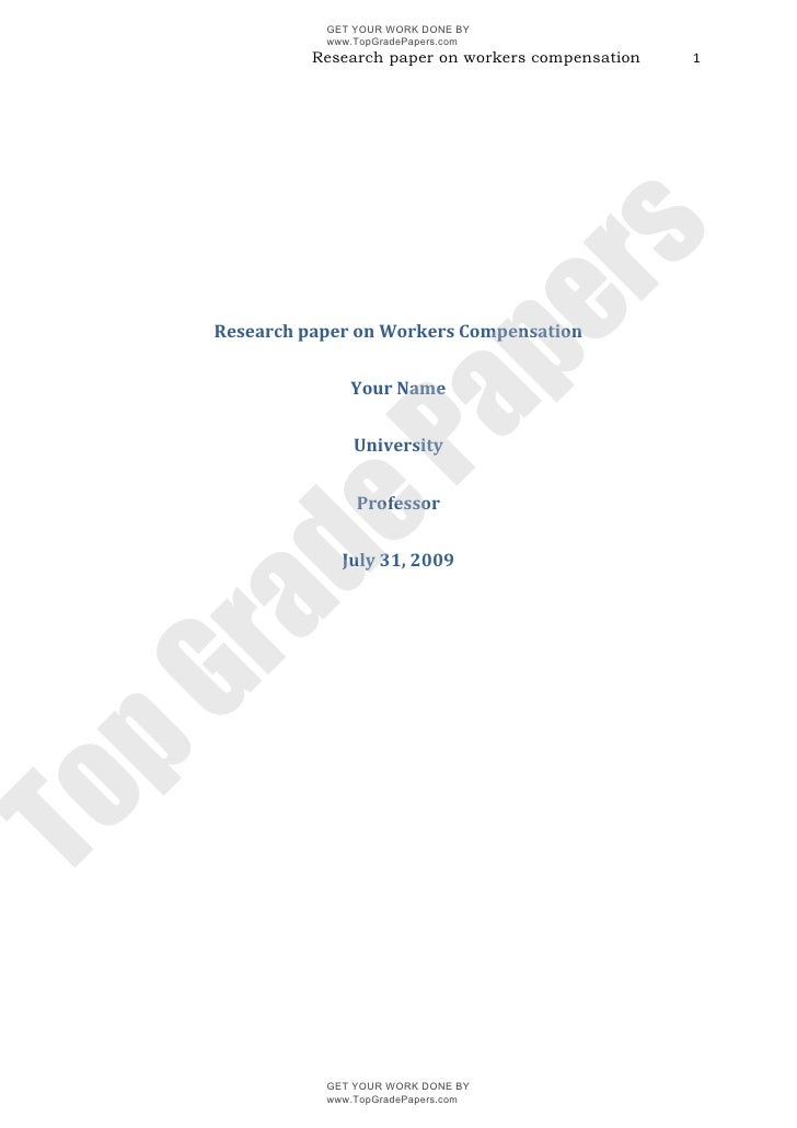 Workers compensation   academic assignment essay - www.topgradepapers.com
