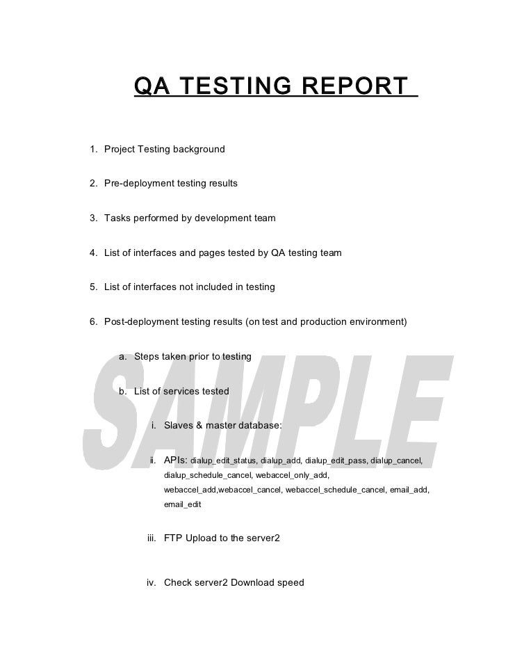 QA TESTING REPORT1. Project Testing background2. Pre-deployment testing results3. Tasks performed by development team4. Li...