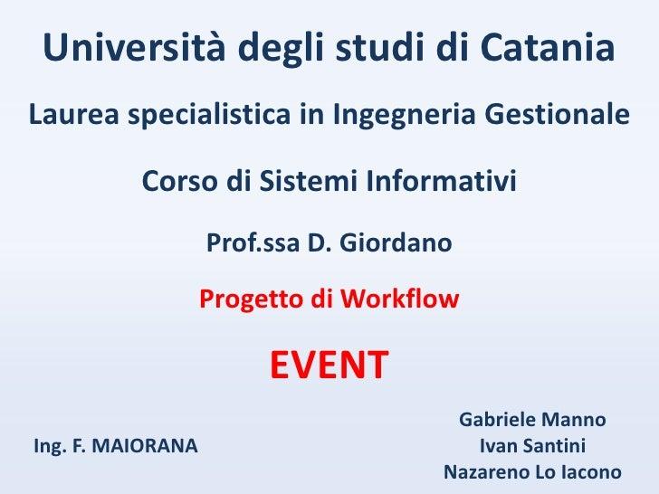 Università degli studi di Catania Laurea specialistica in Ingegneria Gestionale            Corso di Sistemi Informativi   ...