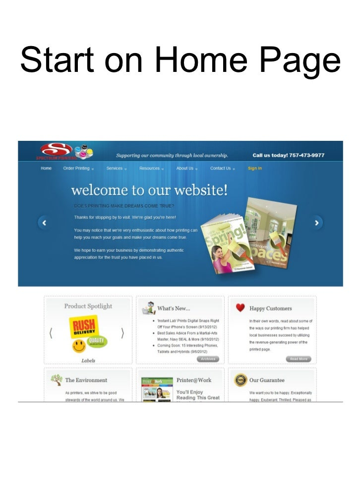 Start on Home Page