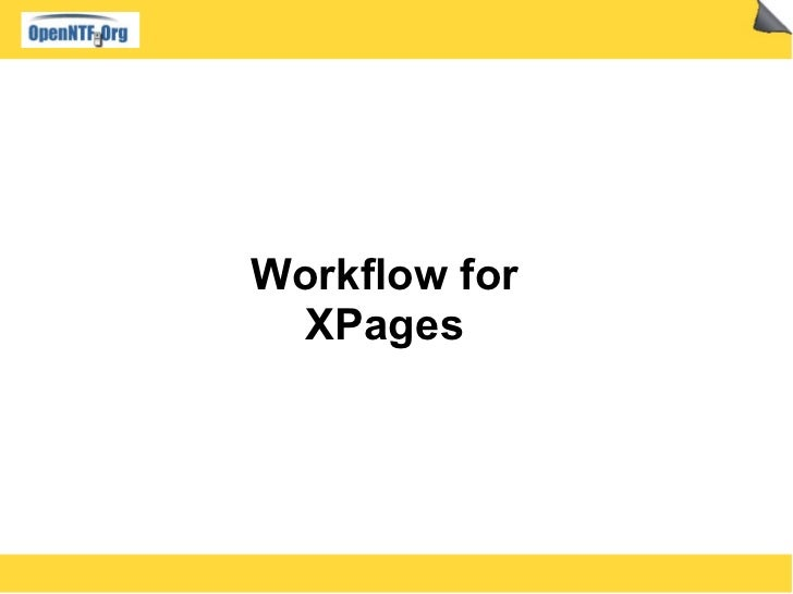 Workflow for XPages