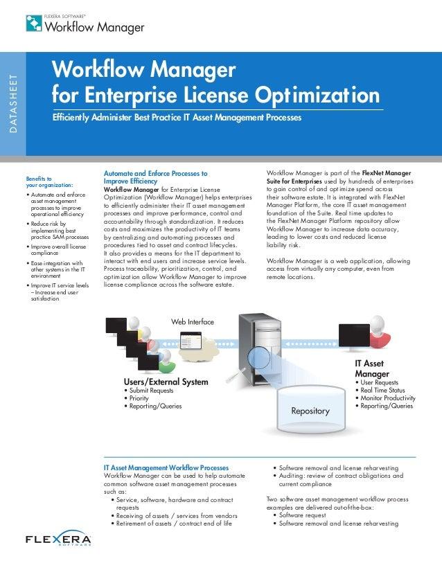 Workflow ManagerD ATA S H E E T                             for Enterprise License Optimization                           ...