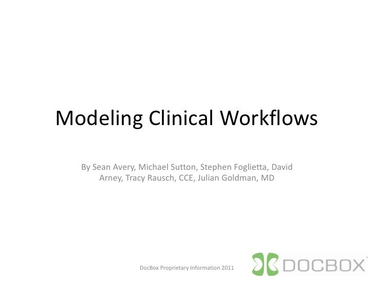Modeling Clinical Workflows<br />By Sean Avery, Michael Sutton, Stephen Foglietta, David Arney, Tracy Rausch, CCE, Julian ...