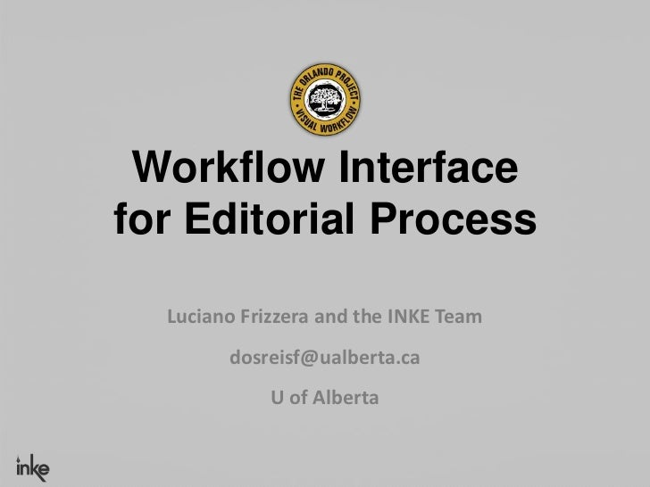 Workflow Interfacefor Editorial Process  Luciano Frizzera and the INKE Team        dosreisf@ualberta.ca             U of A...