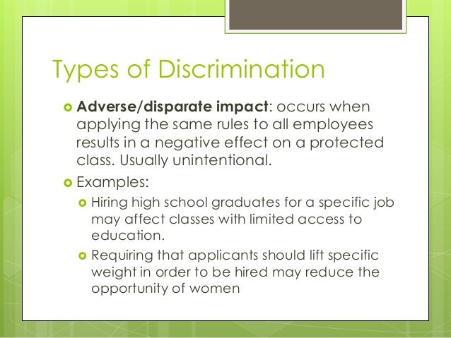 disparate impactdisparate treatment essay Read disparate impact/disparate treatment case study free essay and over 88,000 other research documents disparate impact/disparate treatment case study disparate.