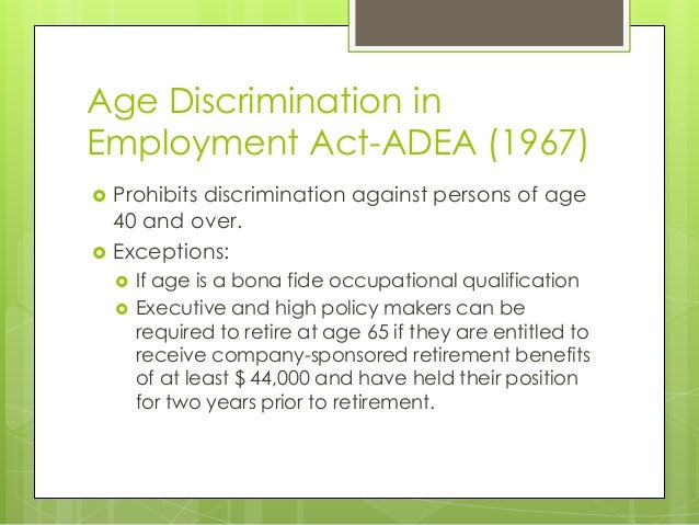 age discrimation term paper Age discrimination workplace age discrimination should not it is unlawful to discriminate against a person because of his/her age with respect to any term.