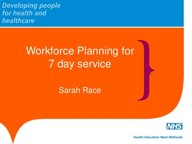 Workforce Planning for 7 day service Sarah Race
