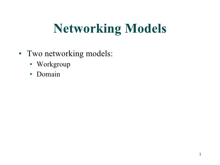 Workgroup vs domain