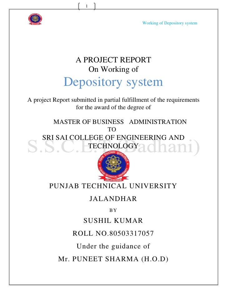 1                                              Working of Depository system                   A PROJECT REPORT            ...