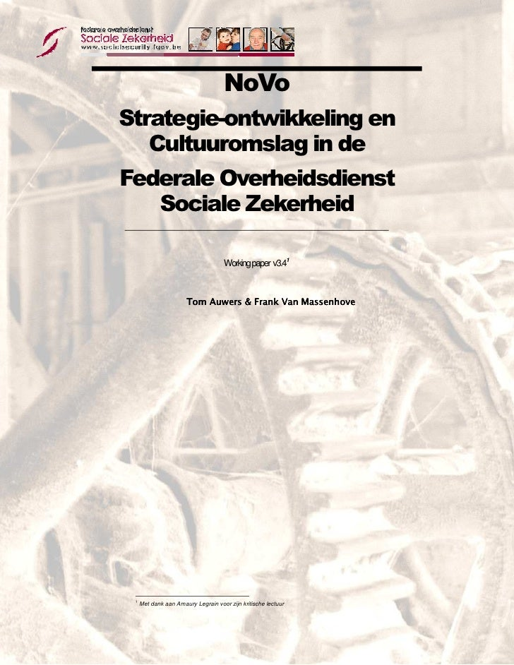 NoVo       Strategie-ontwikkeling en          Cultuuromslag in de       Federale Overheidsdienst          Sociale Zekerhei...
