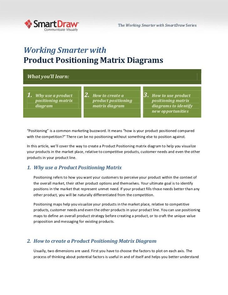 The Working Smarter with SmartDraw SeriesWorking Smarter withProduct Positioning Matrix DiagramsWhat you'll learn:1.    Wh...