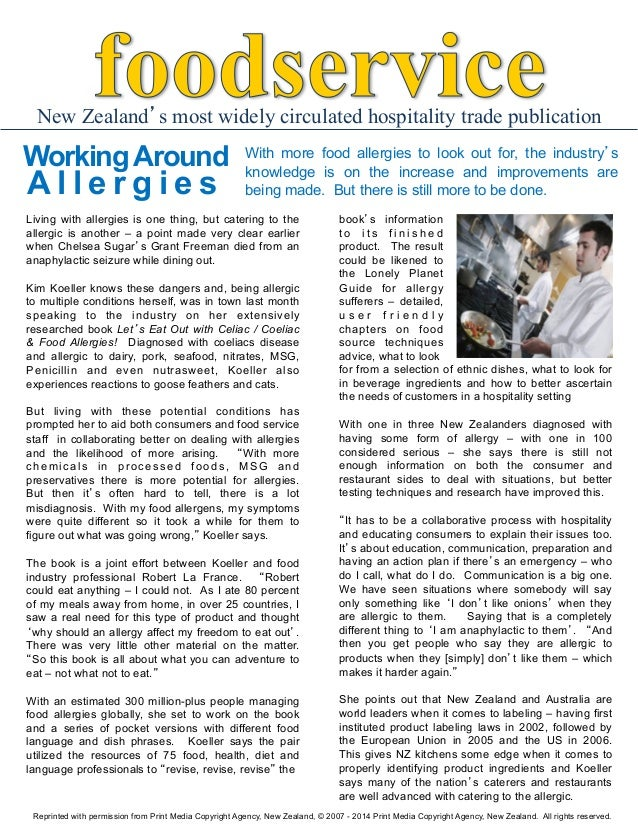 New Zealand's most widely circulated hospitality trade publication  Working Around  Allergies  With more food allergies to...