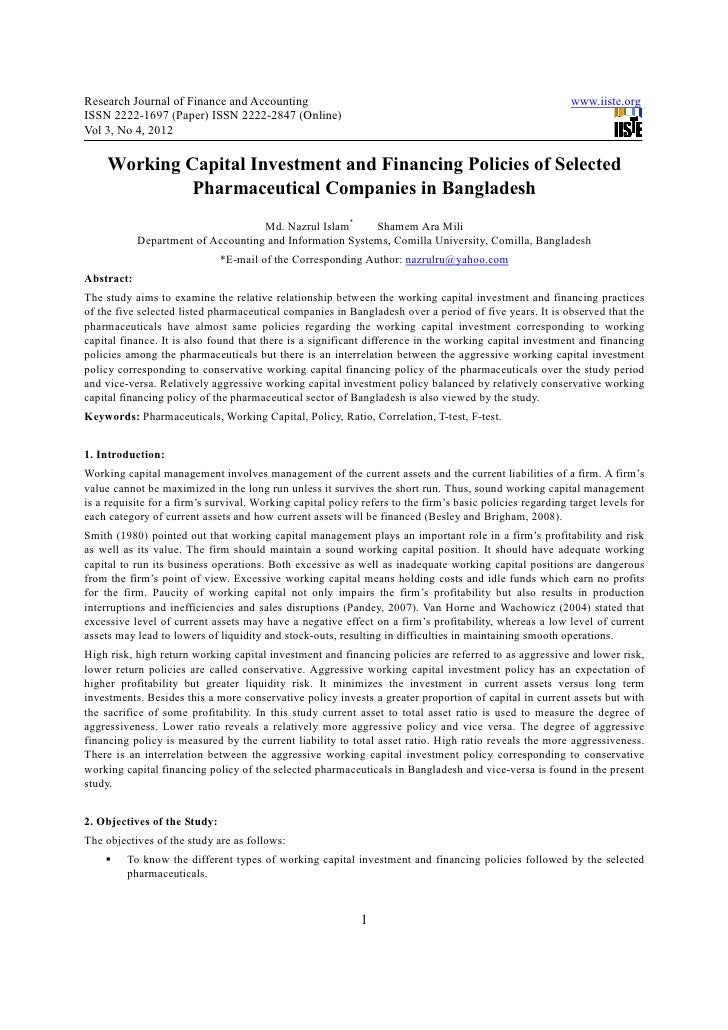 Working capital investment and financing policies of selected pharmaceutical companies in bangladesh