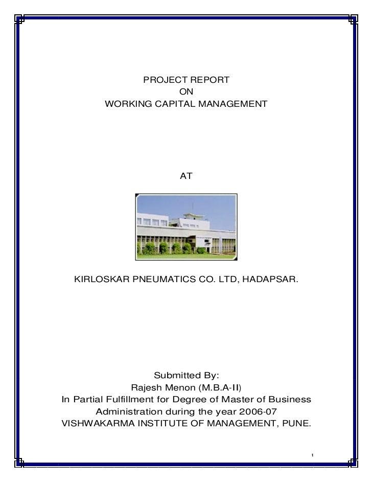 Working capital management at kirloskar pneumatics co. ltd. by rajesh menon