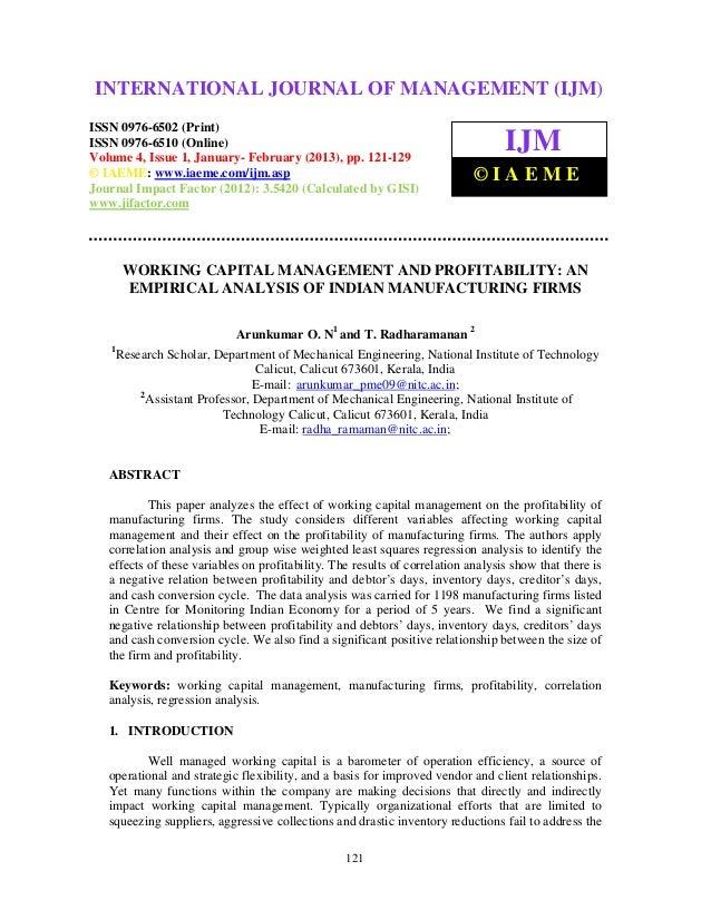 Working capital management  profitability an empirical analysis