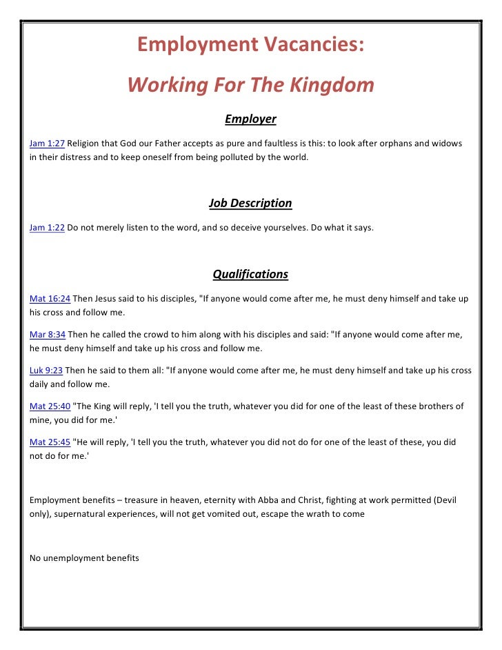 Employment Vacancies:                         Working For The Kingdom                                                  Emp...