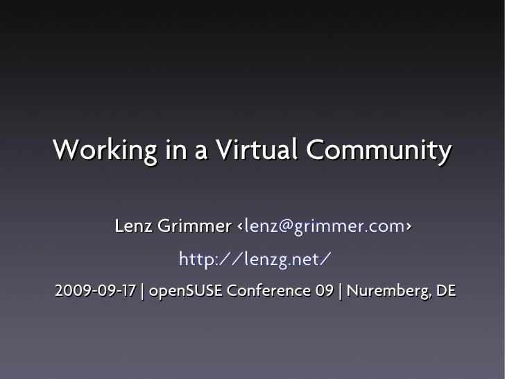 Working In A Virtual Community