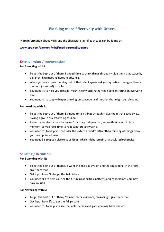 Working more Effectively with Others More information about MBTI and the characteristics of each type can be found at: www...