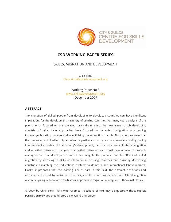 CSD WORKING PAPER SERIES                        SKILLS, MIGRATION AND DEVELOPMENT                                         ...