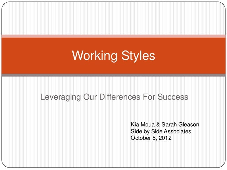 Working StylesLeveraging Our Differences For Success                       Kia Moua & Sarah Gleason                       ...