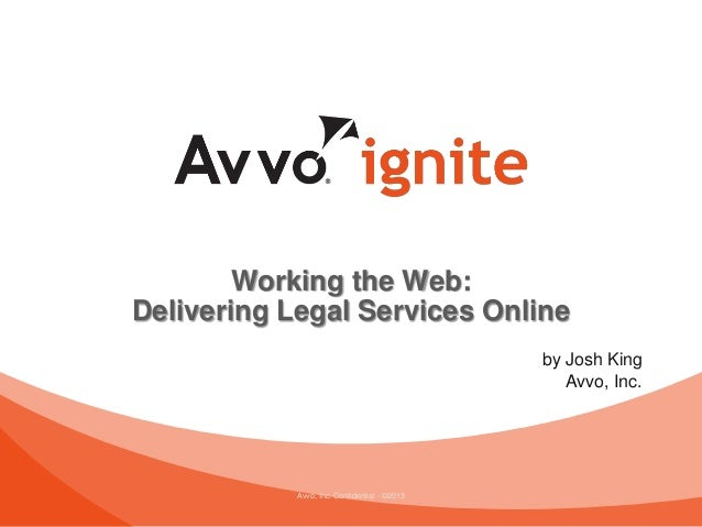 Avvo, Inc. Confidential - ©2013Working the Web:Delivering Legal Services Onlineby Josh KingAvvo, Inc.