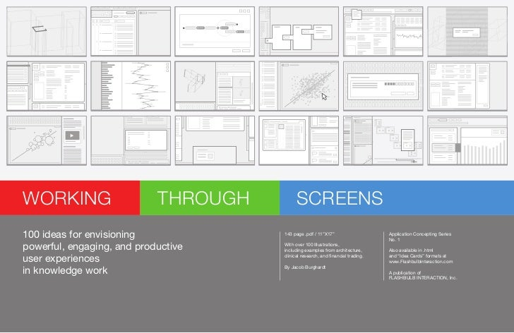 """WORKING                     THROUGH         SCREENS100 ideas for envisioning             143 page .pdf / 11''X17""""         ..."""