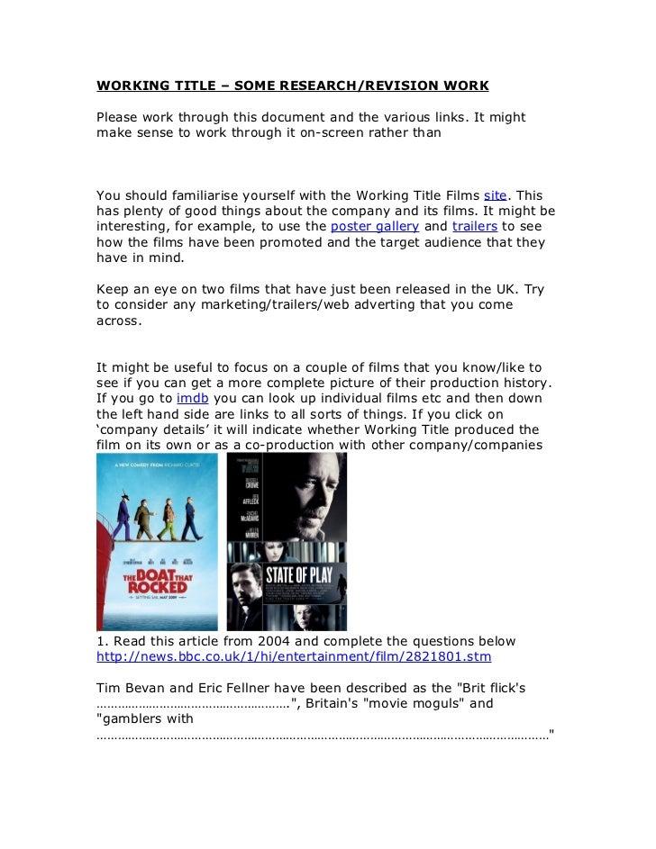 Working title links workbook