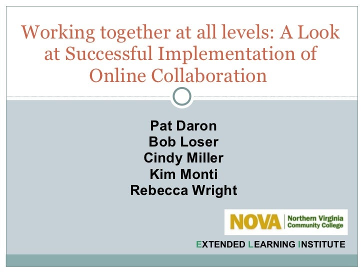 Working together at all levels: A look at successful implementation of online collaboration
