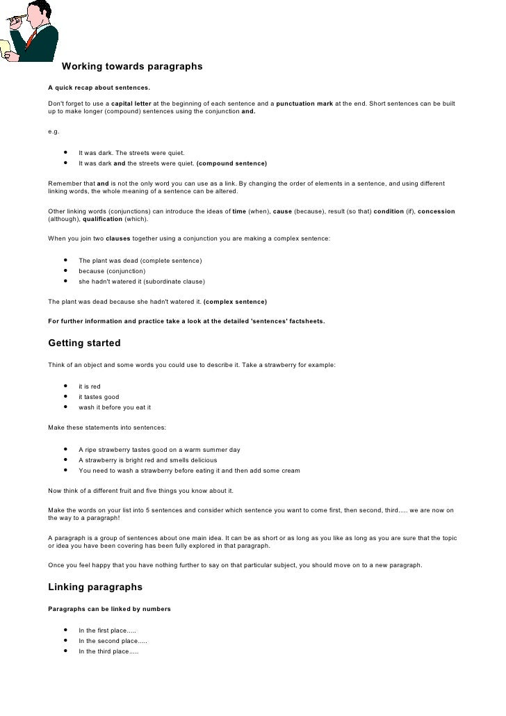 Working towards paragraphs  A quick recap about sentences.  Don't forget to use a capital letter at the beginning of each ...