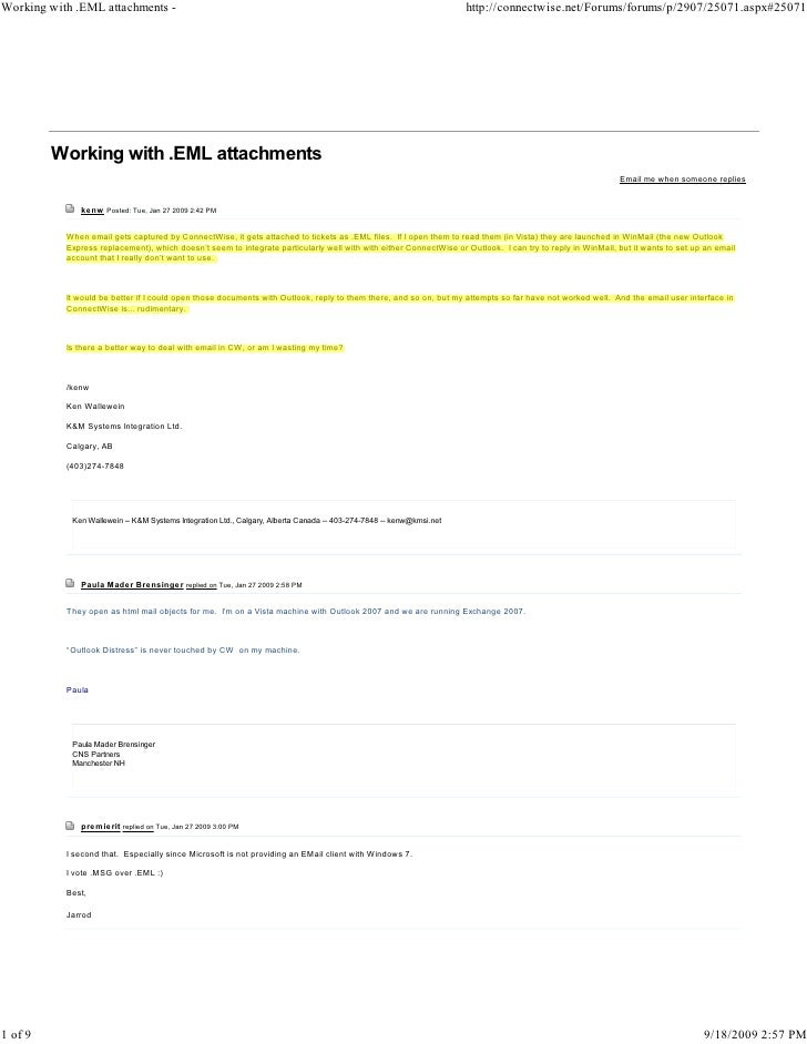 Working with .EML attachments -                                                                                       http...
