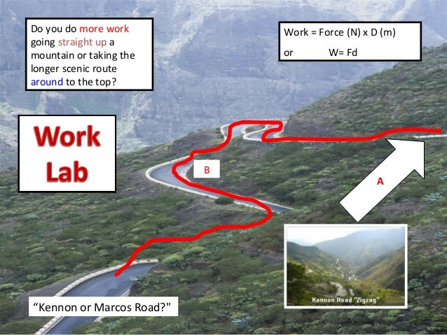 Do you do more work going straight up a mountain or taking the longer scenic route around to the top? A B Work = Force (N)...